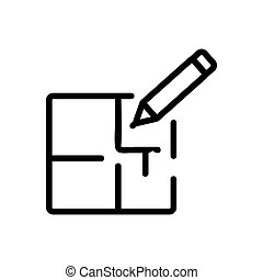 矢量, outline, 修理, 圖象, 公寓, 插圖