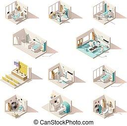 矢量, poly, 房間, 低, 醫院, 等量