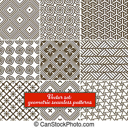 矢量, set:, 9, 幾何學, patterns., seamless