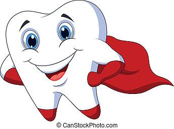 矯柔造作, 牙齒, 漂亮, 卡通, superhero