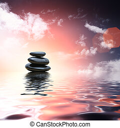 石頭, 水, 反射, 禪, 背景