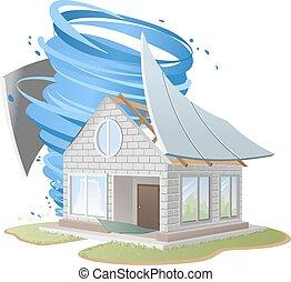 破坏, 房子, 颶風, 屋頂