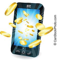 硬幣, 金, 流動, 飛行, 電話, 聰明, 在外