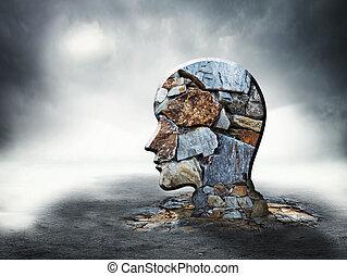 磚, 黑色半面畫像, 頭, 人類