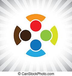 社區, pals, 也, 玩, 樂趣, 雇員, 工人, get-together-, 人們, 會議, 有, 朋友, 矢量, 好朋友, 孩子, &, 差异, graphic., 罐頭, 孩子, 統一, 插圖, 代表, 這