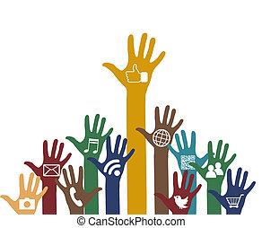 社會, 媒介, 圖象, 手