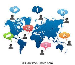 社會, 媒介, 矢量, 世界地圖