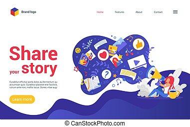 社會, 著陸, 講故事者, 內容, 分享, 視覺, blogger, 故事, 你, 分享, 媒介, 頁