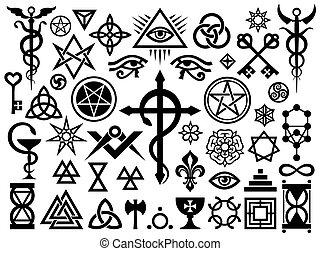 神秘, 郵票, 魔術, 中世紀, 簽署