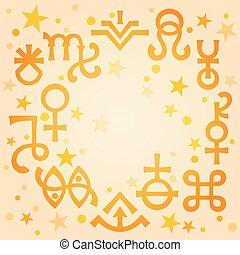 神秘, symbols), 天上, 占星術, 王冠, 圖案, 早晨, 神秘, stars., 溫暖, 背景, 簽署, (astrological