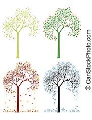 秋天, 冬天, 樹, 春天, 夏天