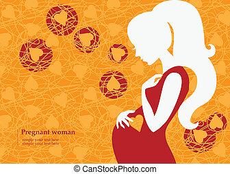 秋天, 婦女, 黑色半面畫像, 怀孕