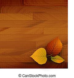 秋天, 木制, 矢量, 背景