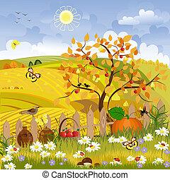 秋天, 鄉村, 樹風景