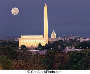 秋天, 鮮艷, 黃昏, 前景, 華盛頓特區, 地平線, 樹