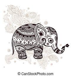 种族, 插圖, 大象