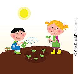 种植, 孩子, 花園, 植物