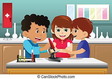 科學, 孩子, 學習, 實驗室