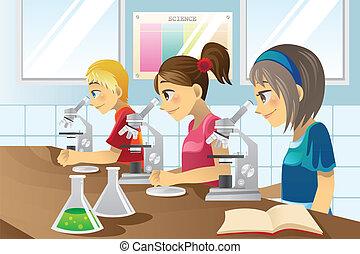 科學, 孩子, 實驗室