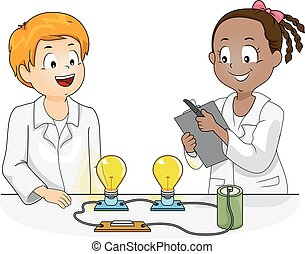 科學, 孩子, 物理學, 實驗, 插圖