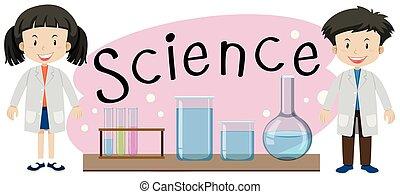科學, 孩子, 詞, illustation