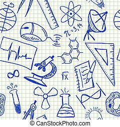 科學, doodles, seamless, 圖案