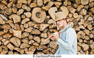 秸桿, 伐木工人, 木頭, 帽子, 背景