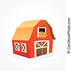 穀倉, 被風格化, 紅色, 卡通, 矢量, 農場