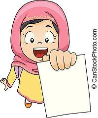 穆斯林, 顯示, 測試, 孩子, 女孩, 插圖, 紙