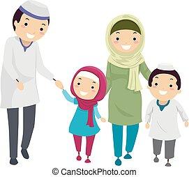 穆斯林, stickman, 家庭, 插圖, 步行