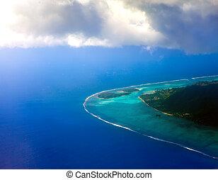 空中, clouds., 透過, polynesia., 環礁, 海洋意見