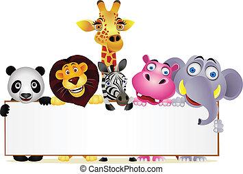 空白, 卡通, 動物, 簽署