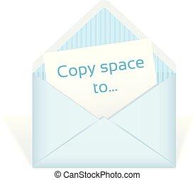 空間, 信封, 裡面。, 模仿, 打開, 卡片