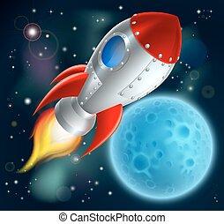 空間, 卡通, 船, 火箭