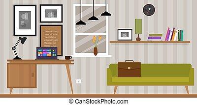 空間, 沙發, 工作, 回家內部, 桌子