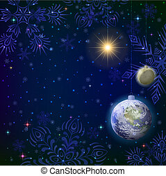 空間, 聖誕節, 背景, 雪