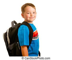 穿, 學校, 概念, 背包, 被隔离, 背, 孩子, 肖像, 白色, 教育
