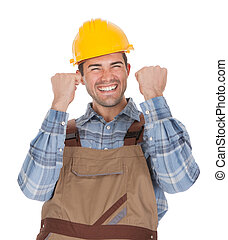 穿, 工人, 頭盔, 興奮