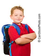 穿, 背包, 學生, 愉快