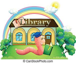 穿, 閱讀, 帽子, 畢業, 虫, 圖書館, 前面