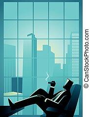 窗口, 商人, 抽煙雪茄, skyscrappers, 看法