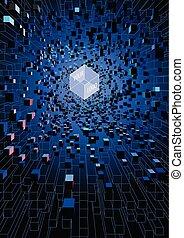 立方, 技術, 數字的背景, 概念, 摘要, 浮動, 未來