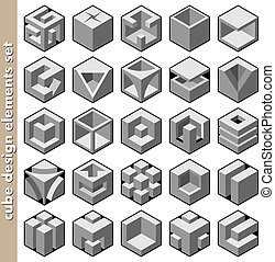 立方, 集合, 矢量, 設計元素, 3d