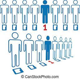 站立, 人們, 數字, 人, 線, 在外