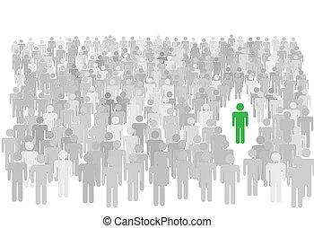 站立, 人群, 人們, 符號, 大, 人, 個人, 在外