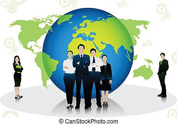 站立, 前面, 全球, 商業界人士