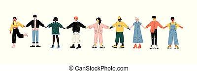 站立, 友誼, 人們, 手, 多文化, 年輕, 一起, 統一, 矢量, 插圖, 藏品, 容忍, 行