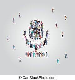 站立, 收集, 概念, 組, 人群, 人們, 媒介, mic, 話筒, 社區, 系統, 不同, 形狀, 充分, 一起, 社會, 長度, 音調, 技術, 雇員, 職業