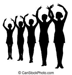 站立, 芭蕾舞舞蹈演員, 被提出手, 行