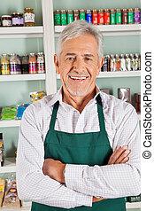 站立, 食品雜貨店, 充滿信心, 所有者, 男性, 商店